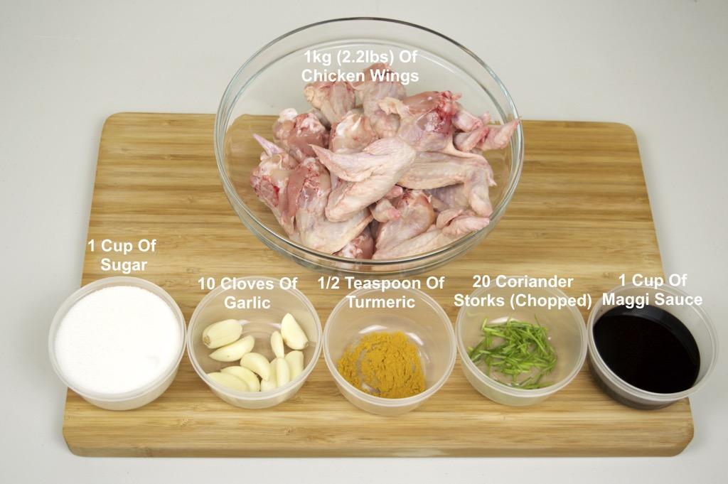 Thai Street Vendor Grilled Chicken Wings Ingredients