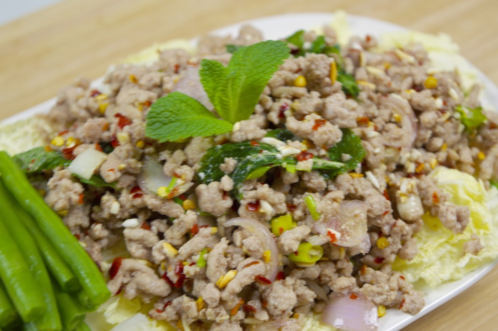 Thai larb moo. Minced meat. But is it chicken, pork, turkey or ...