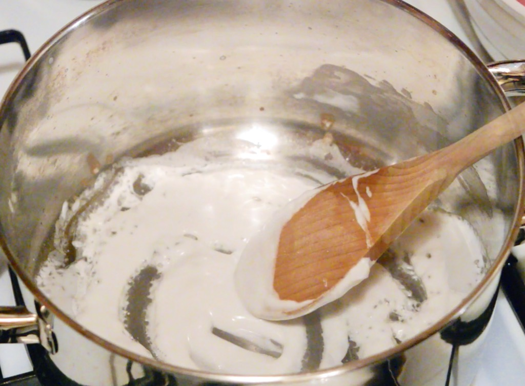 Coconut cream in saucepan