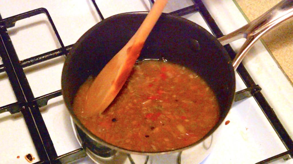 making the fish tamarind sauce