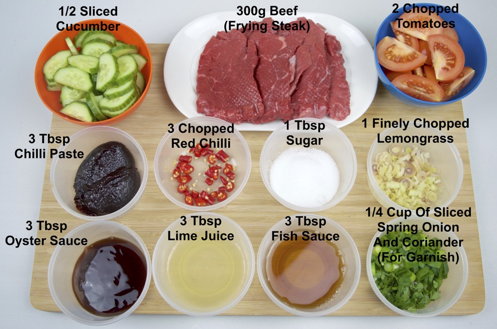 spicy beef salad ingredients list