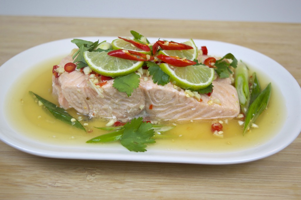 steamed fish with chilli and lime sauce