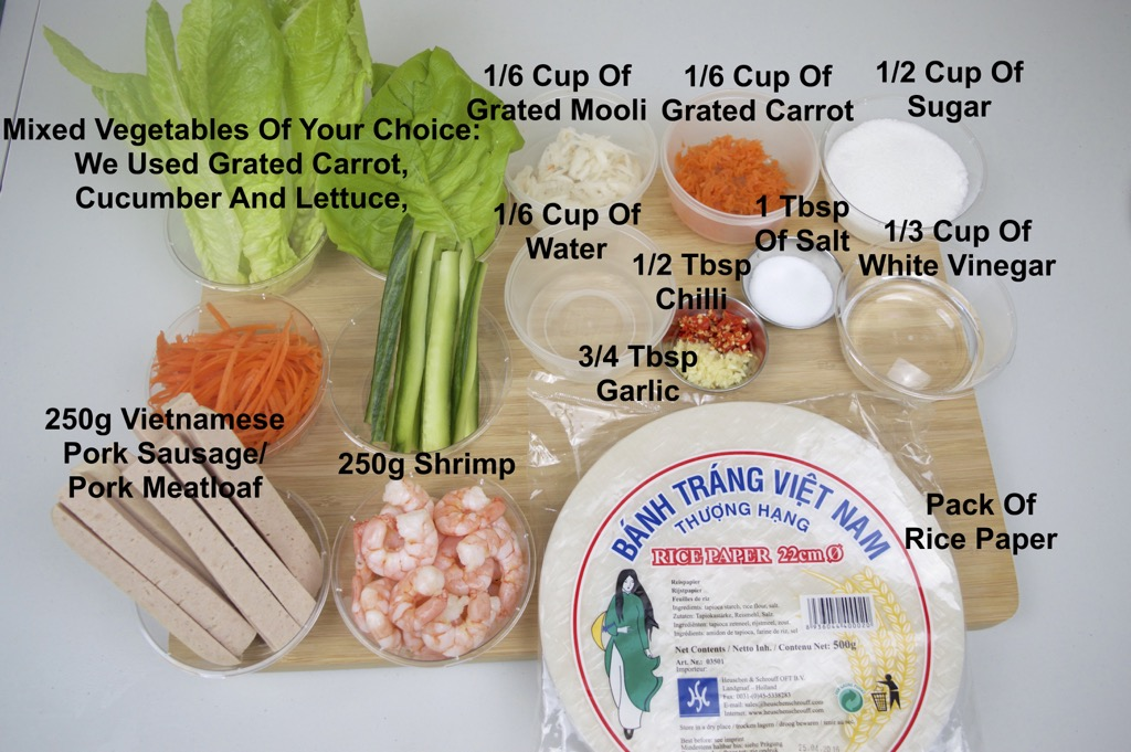 vietnamese spring rolls ingredients list