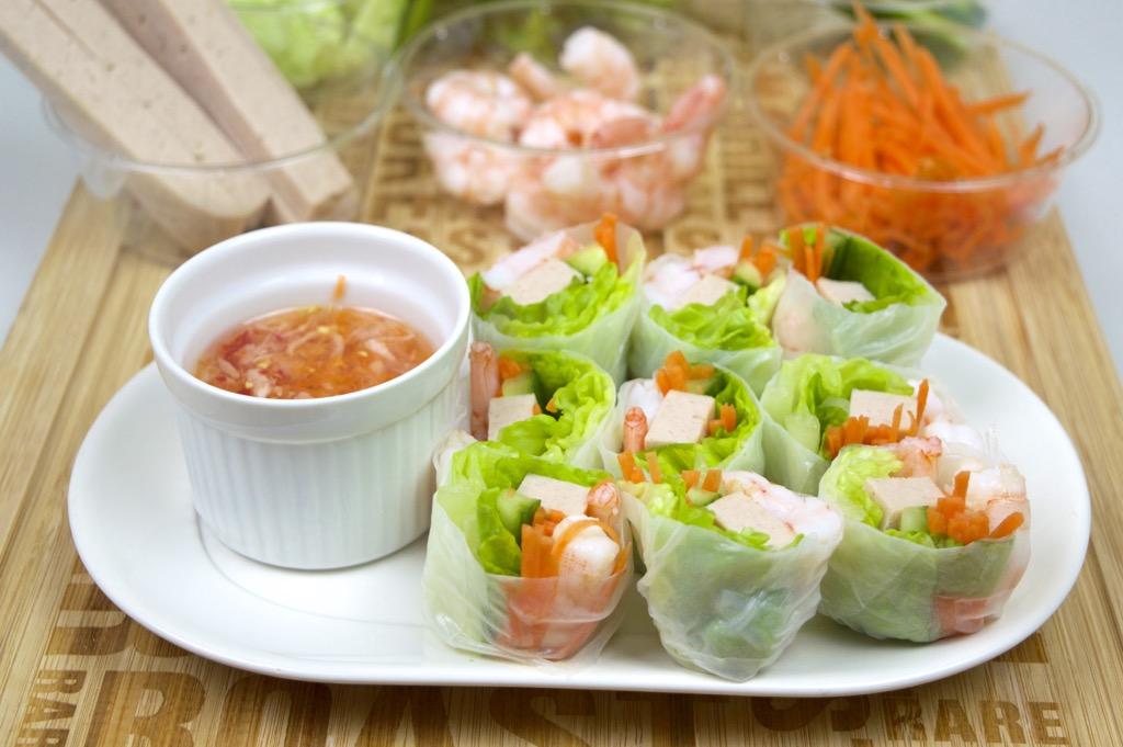 Vietnamese Pork And Shrimp Spring Rolls (Summer Rolls) With Special ...