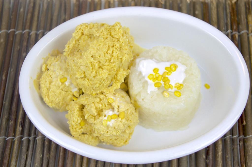 Mango Ice Cream Sorbet With Sweet Coconut Sticky Rice Recipe