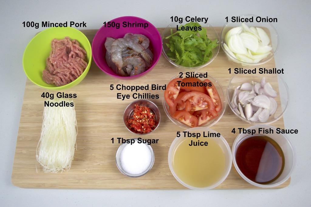 spicy glass noodle salad ingredients list