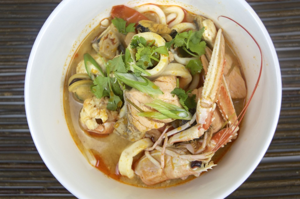 udon noodle in tom yum soup