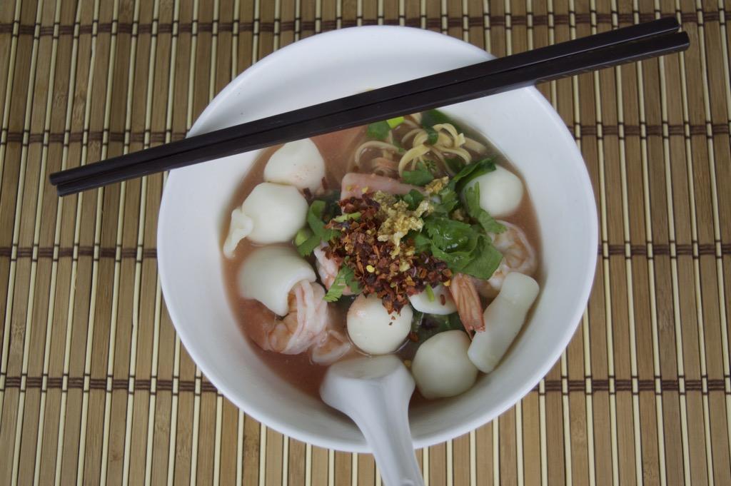 thai pink noodle soup