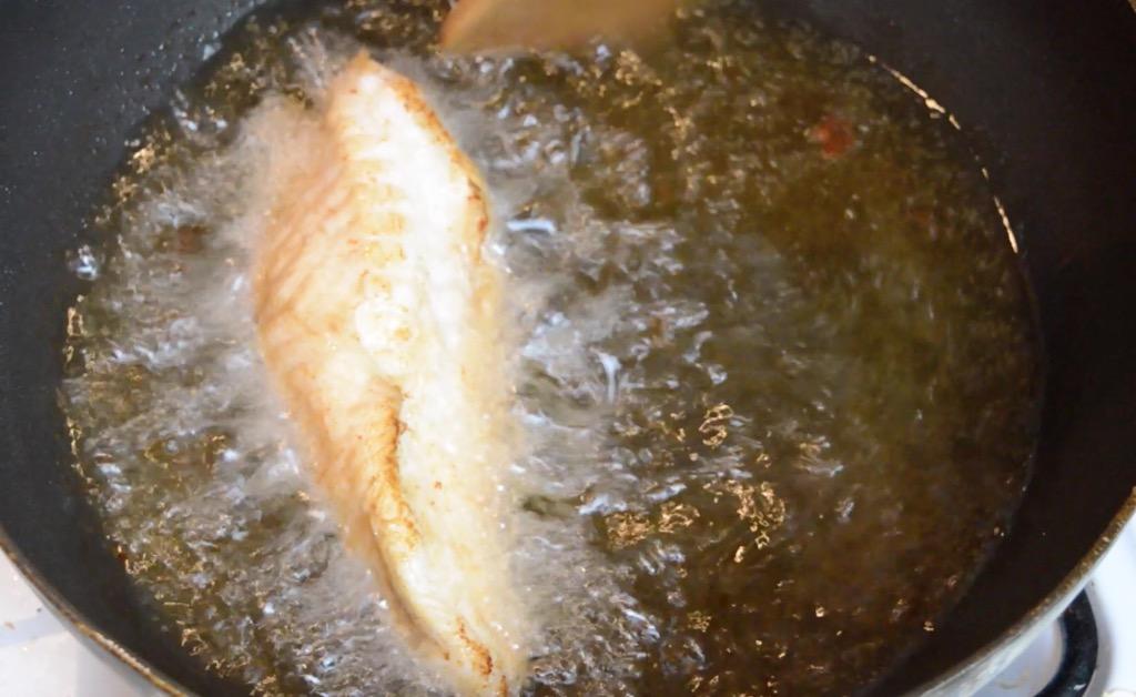 deep frying monkfish