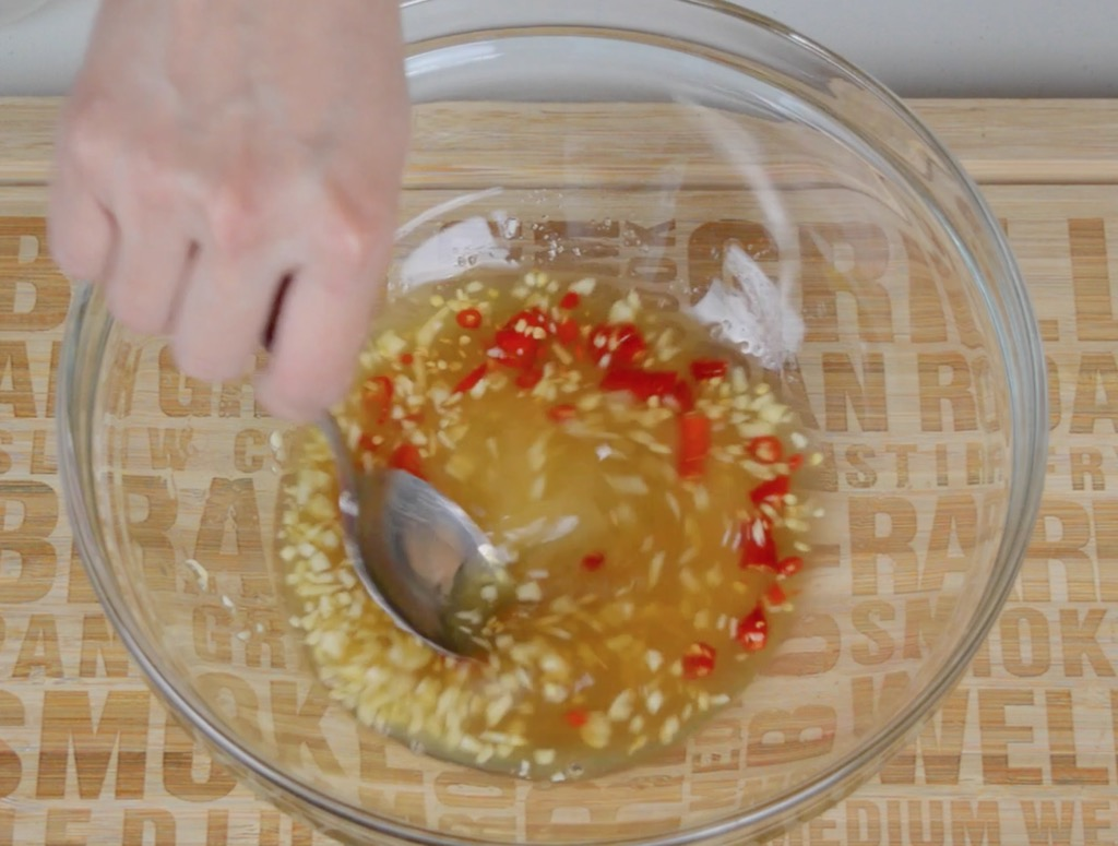 making the spicy salad dressing