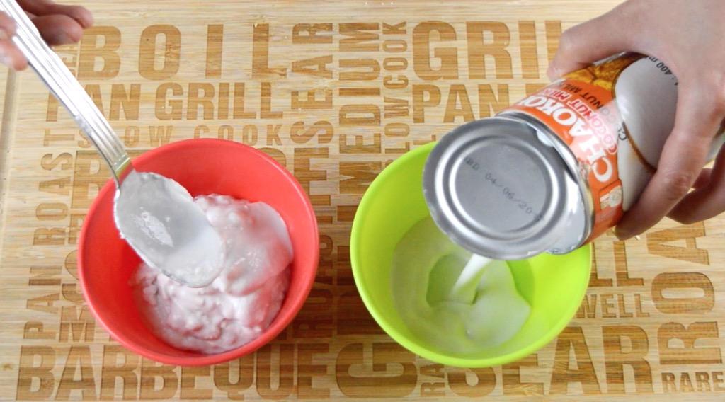seperating the coconut milk
