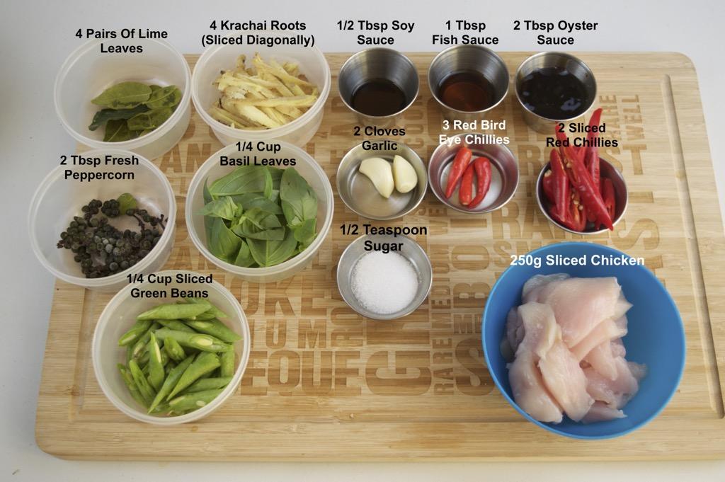 gai pad chaa chilli chicken stir fry ingredients list