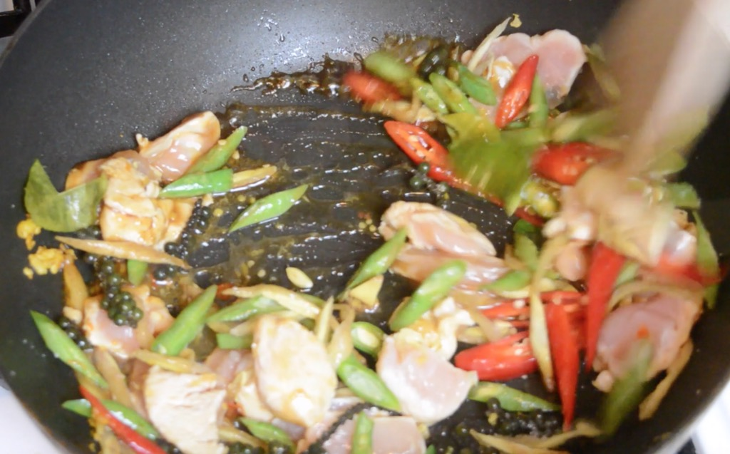 stir frying gai pad cha