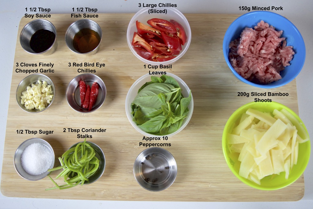 Pad Prik Nor Mai Moo Sub ingredients