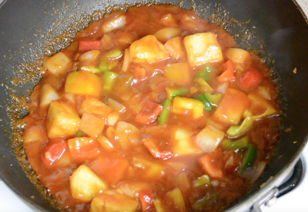 cooking the sweet and sour sauce