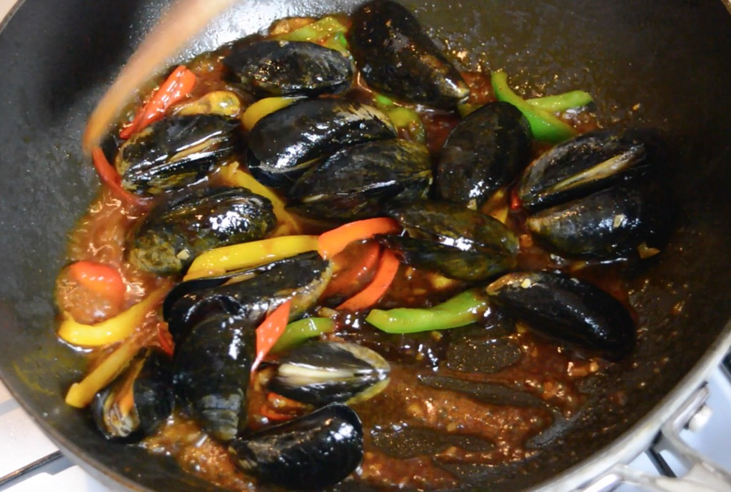 mussels stir fry