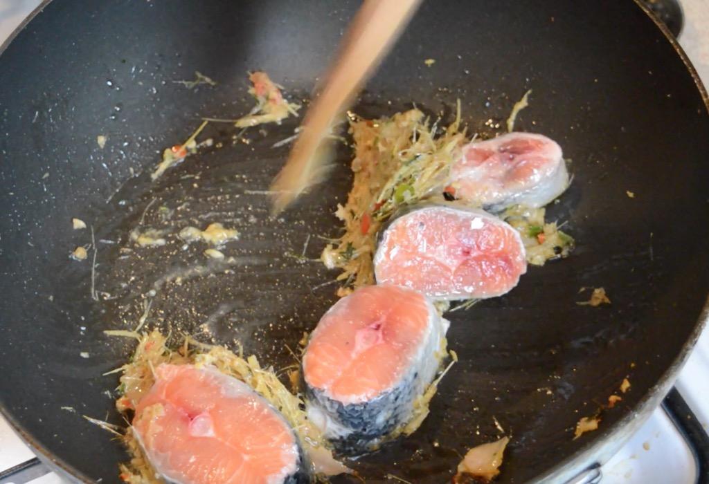 salmon cutlet stir fry