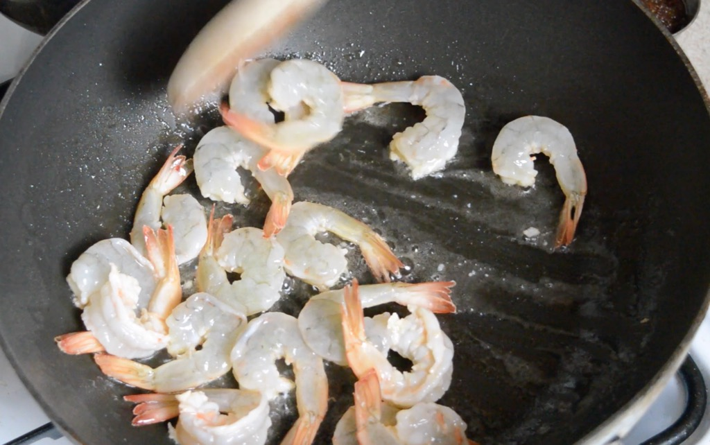 stir frying the shrimp