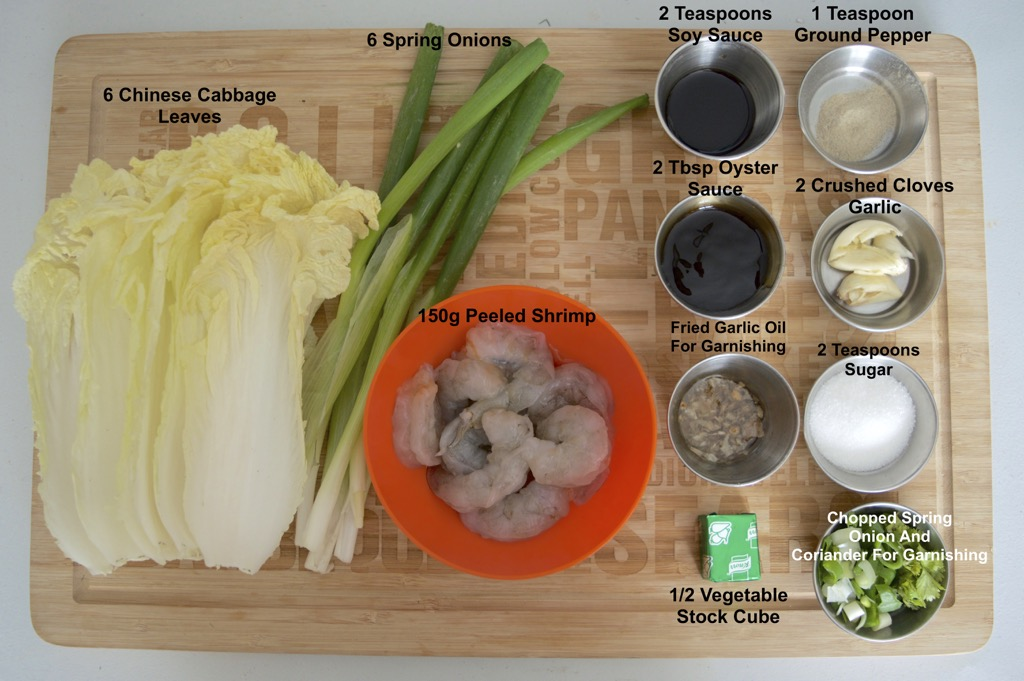 Shrimp Stuffed Cabbage Soup Ingredients list