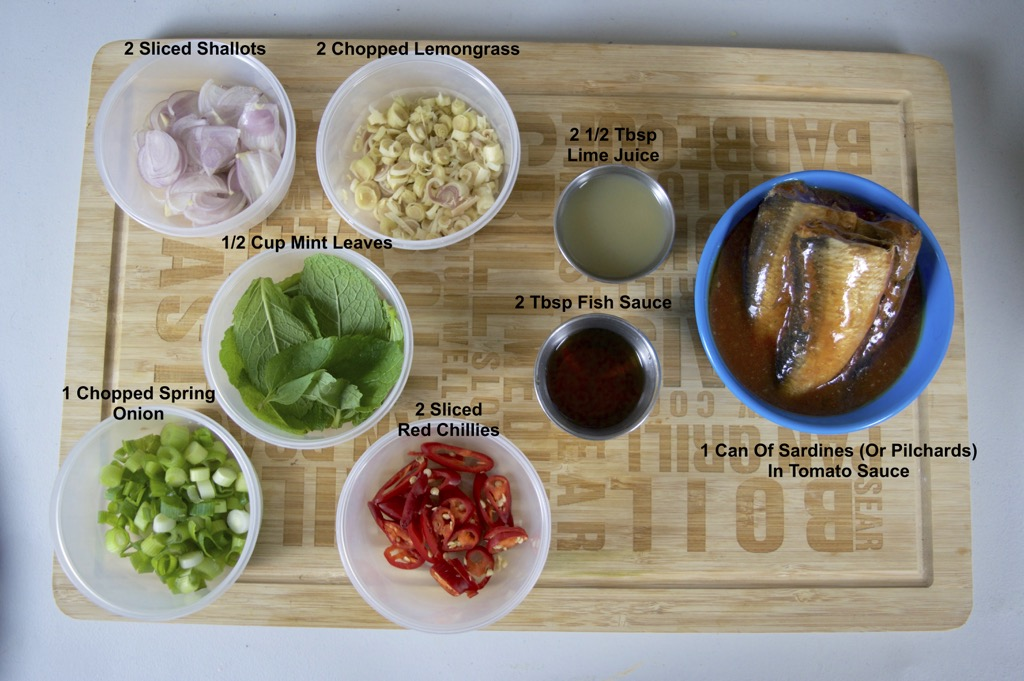 Thai spicy sardine salad ingredients list