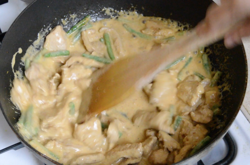 making the red curry stir fry