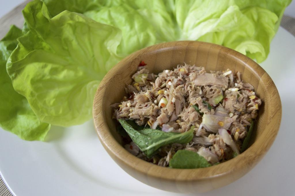 thai laab tuna wraps