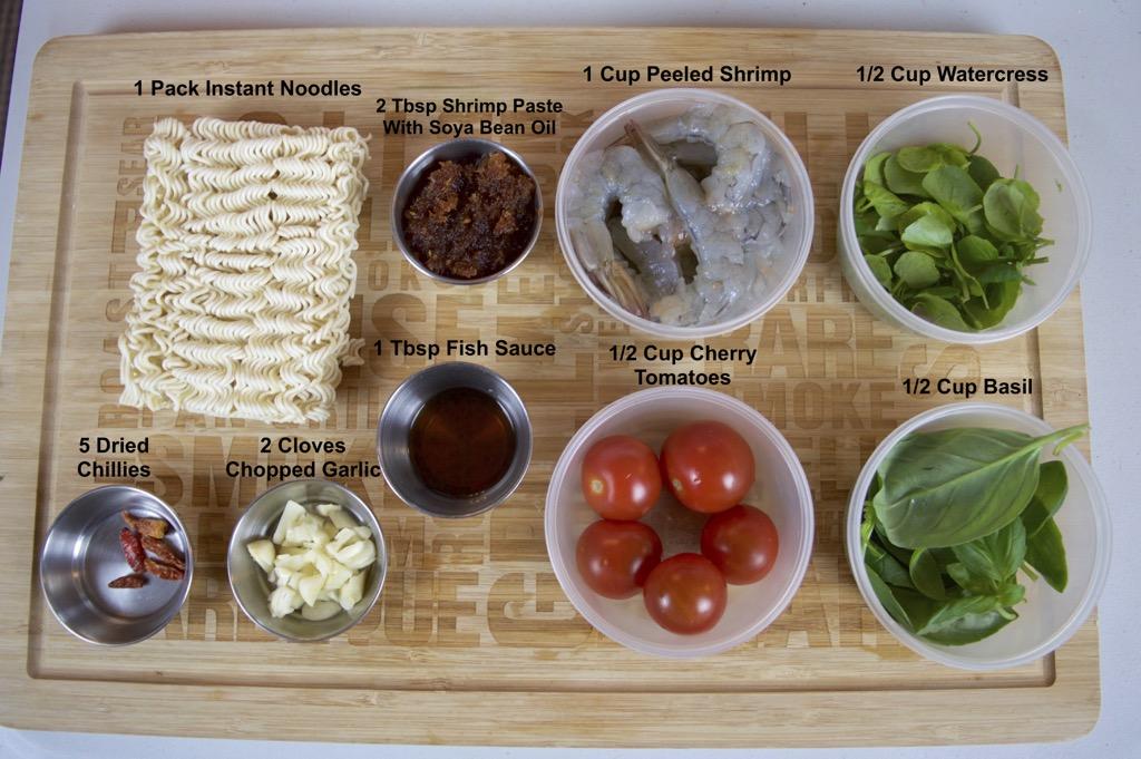 Shrimp And Instant Noodle Stir Fry ingredients list