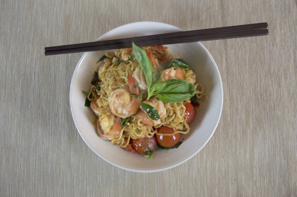 Shrimp And Instant Noodle Stir Fry Recipe