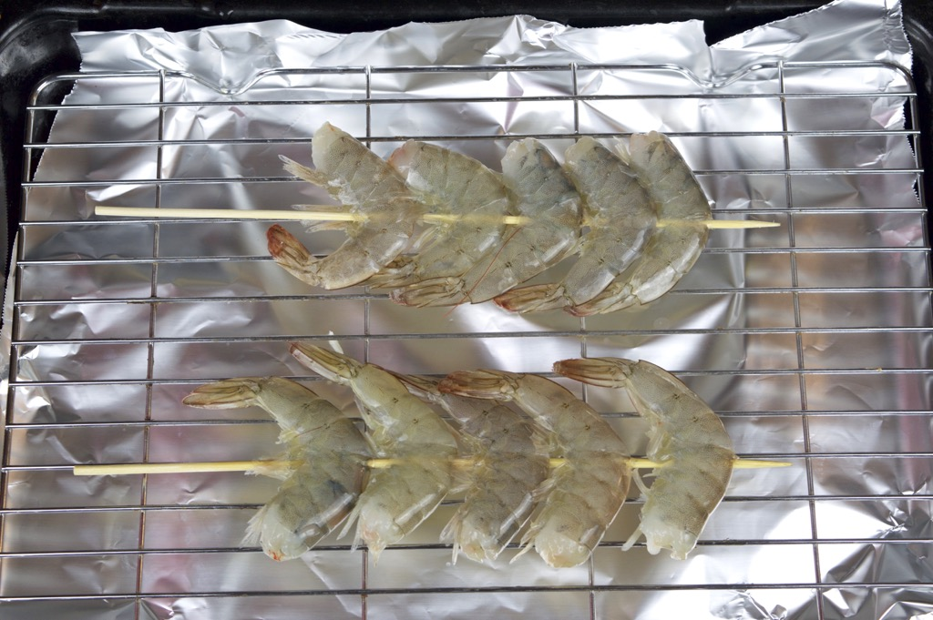 skewering the shrimp