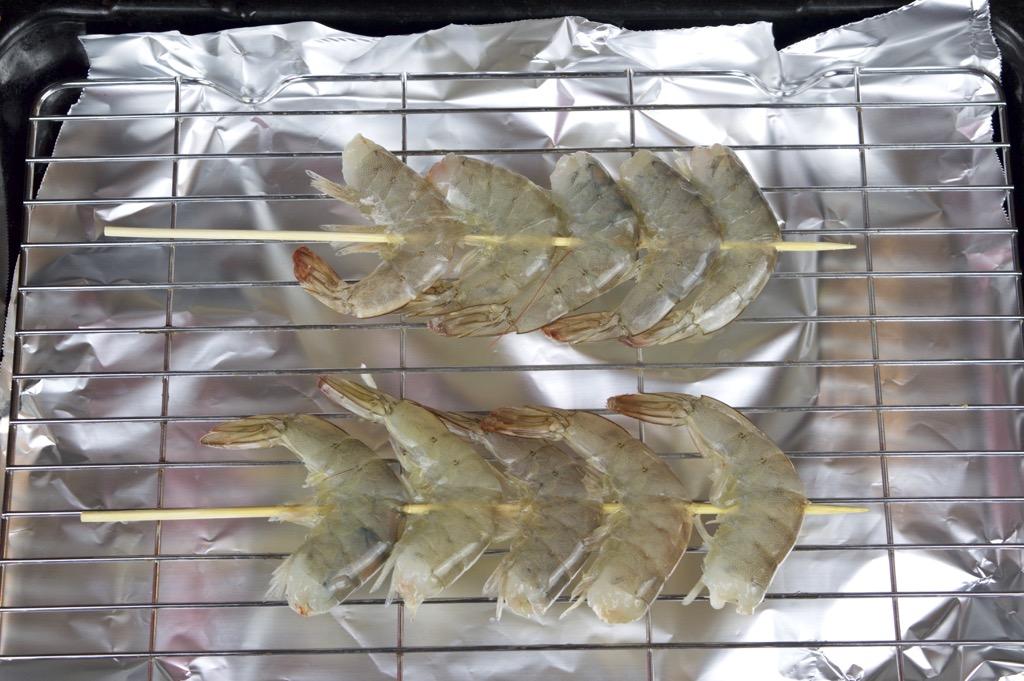 skewering the shrimp