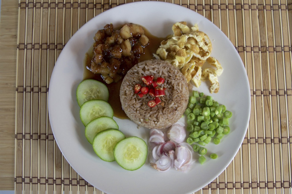 Shrimp Paste Fried Rice With Sweet Pork