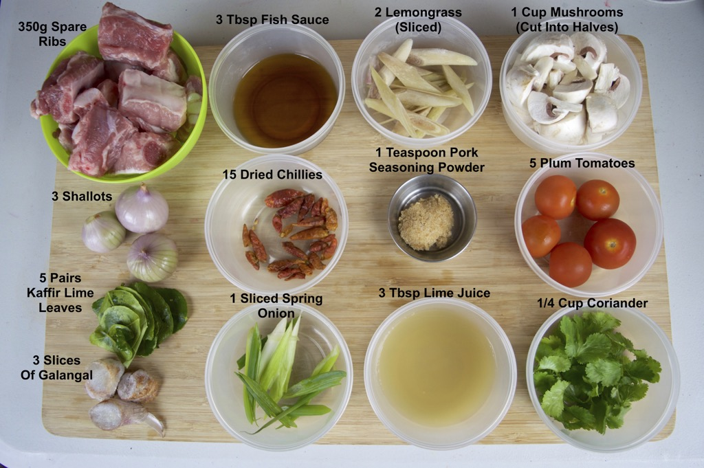 Spicy Spare Rib Soup Ingredients List