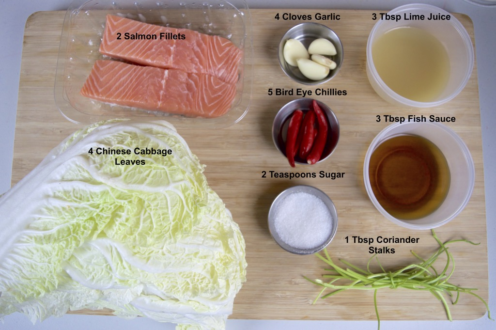 Steamed Salmon Rolls With Spicy Seafood Dipping Sauce ingredients list