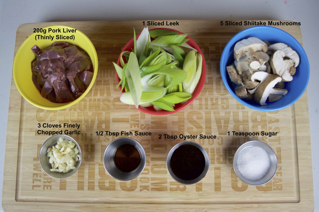 liver and leeks stir fry ingredients list