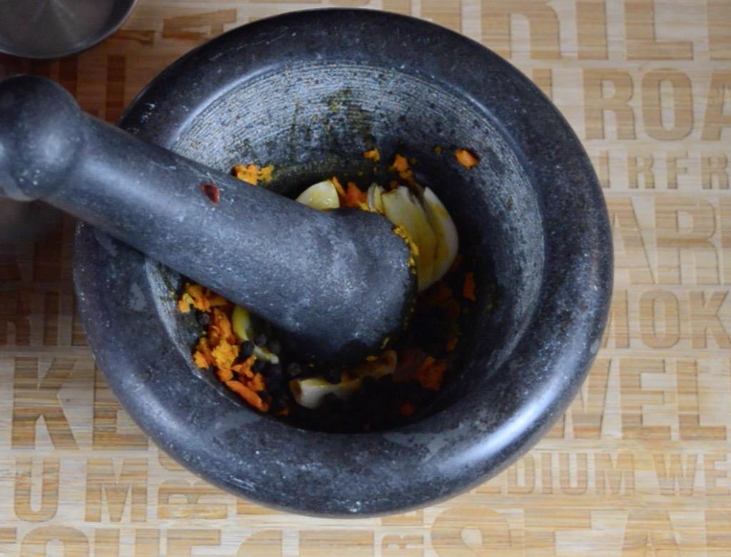 making the turmeric marinade