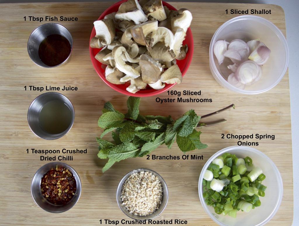 Oyster Mushroom Laab Salad Ingredients List