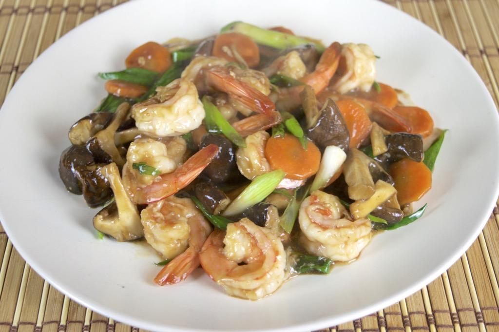 Stir Fried Shrimp And Shiitake Mushrooms