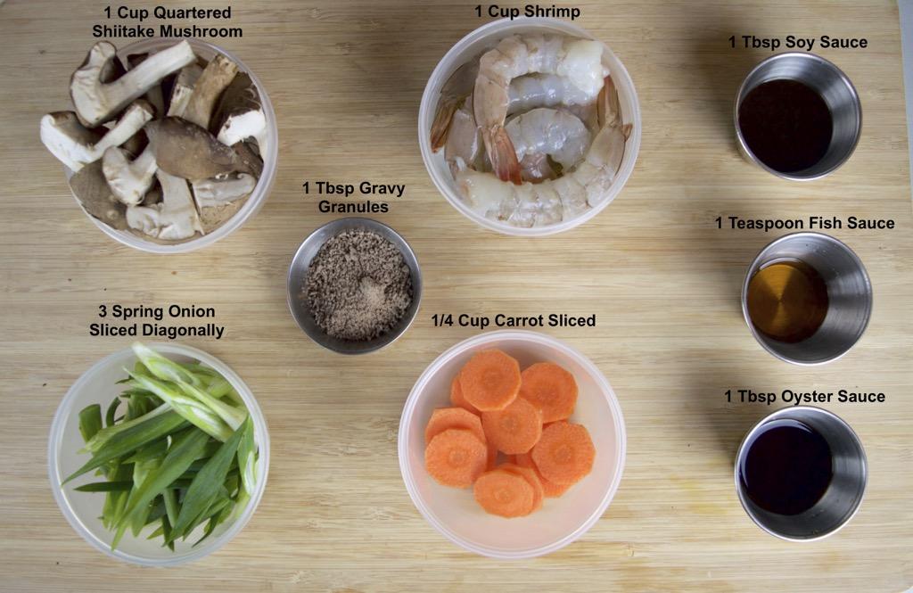 Stir Fried Shrimp And Shiitake Mushrooms ingredients list