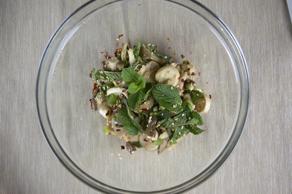 laab hed thai spicy mushroom salad