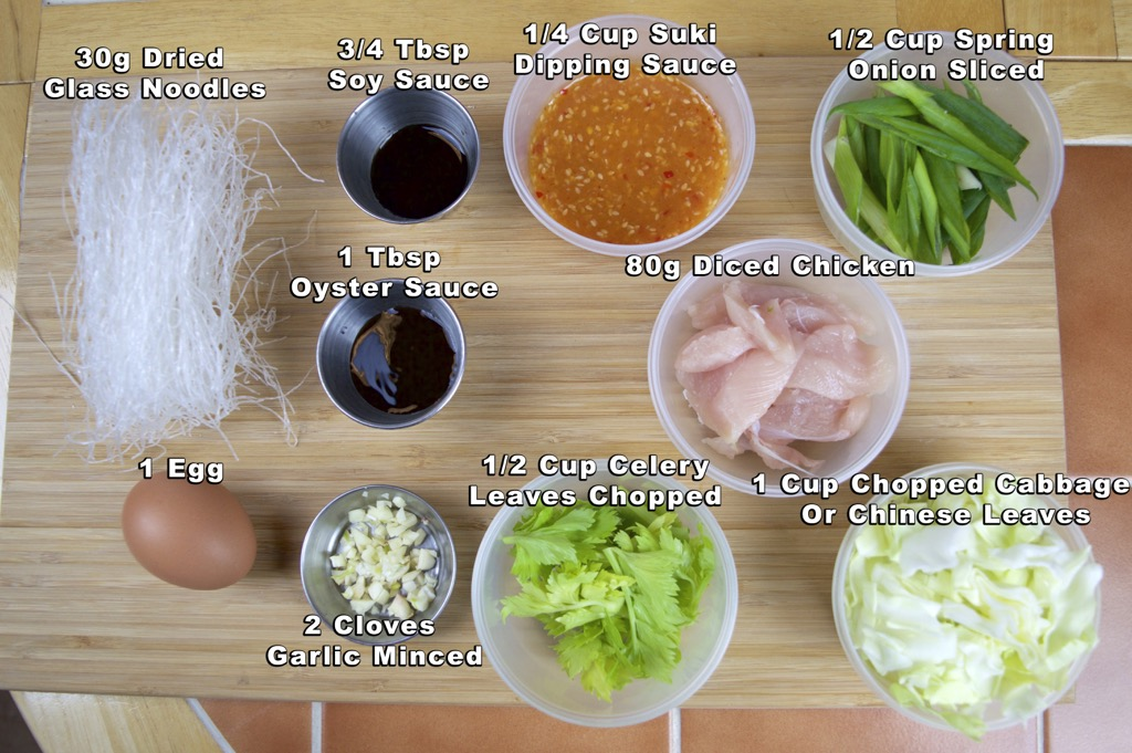 Fried Suki glass noodle - suki haeng ingredients list