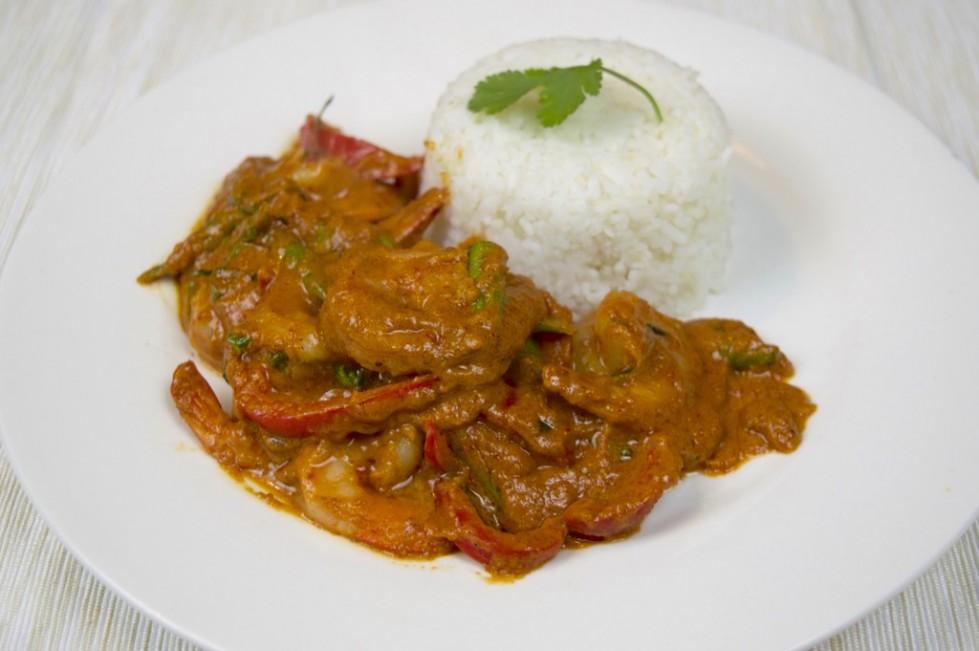 Prawns Stir Fried In Red Curry Paste
