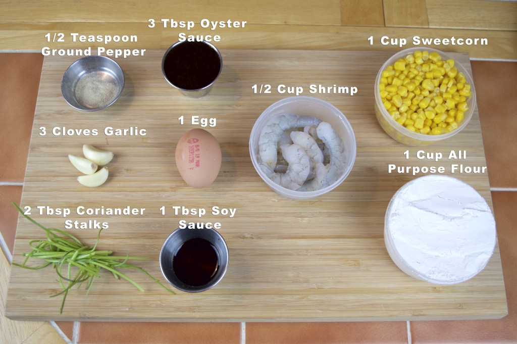 Shrimp and sweet corn cake - tord man Kao pod goong ingredients list