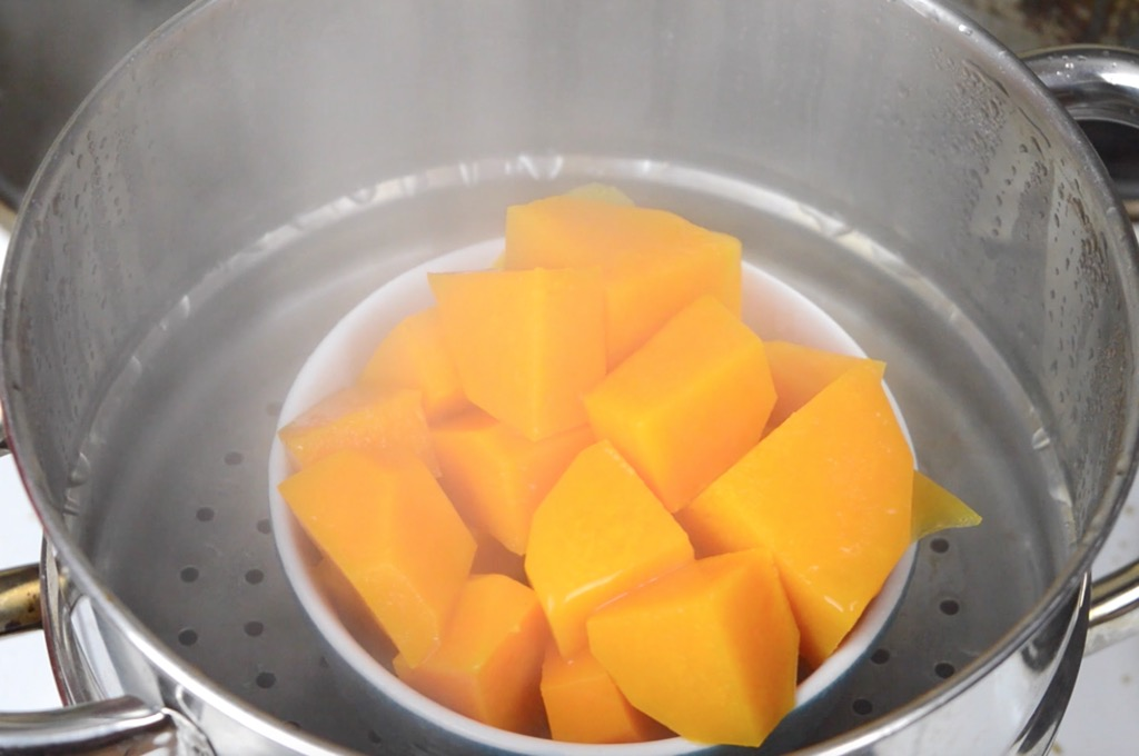 steaming the butternut squash
