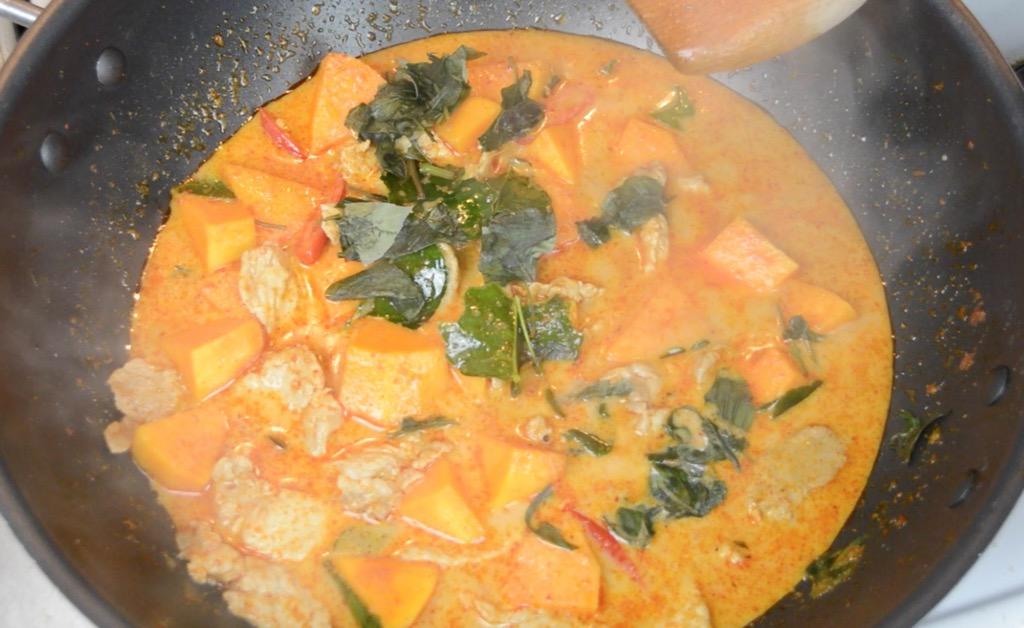 making the thai curry