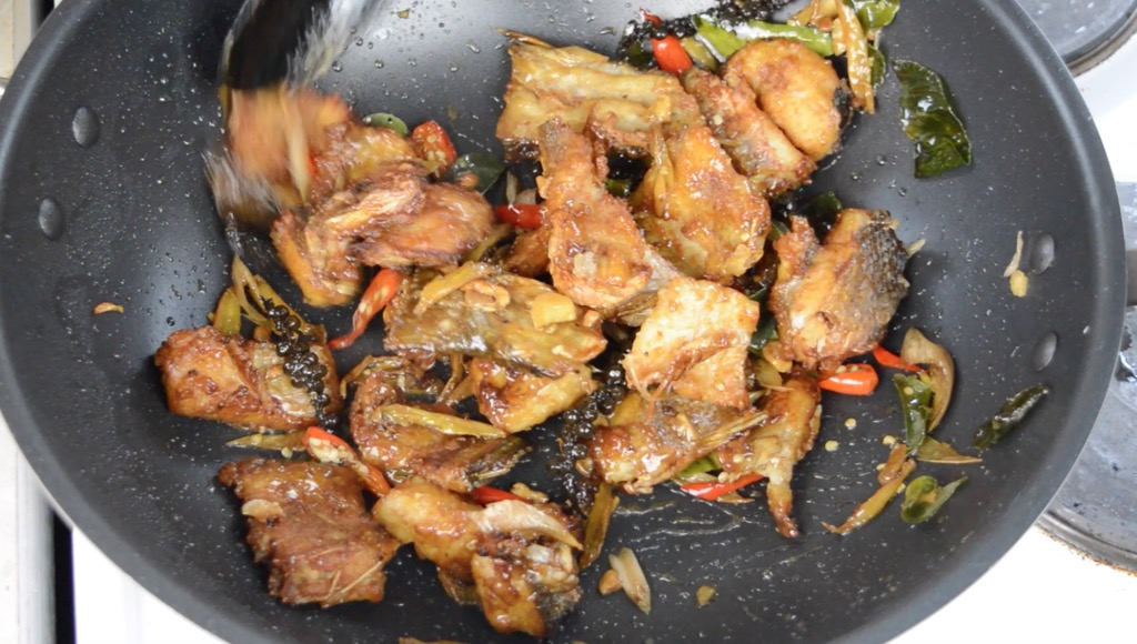 stir fried sea bass
